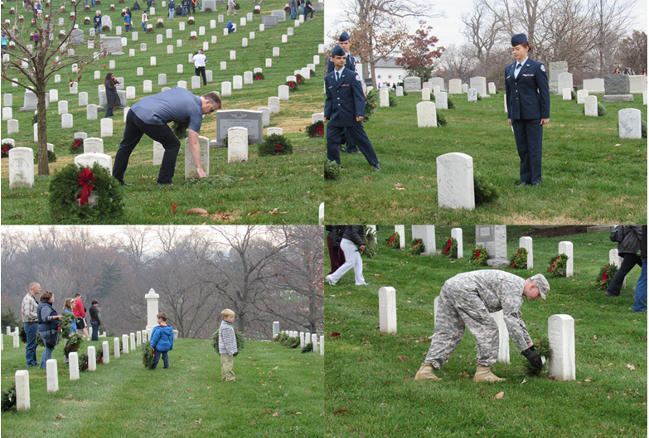 Top left: FASTPORT Co-Founder Jim Ray places wreaths; Top Right: Officer stands at attention after the ceremony; Bottom left: Two children with their families take part in the Wreaths tradition; Bottom right: A Solider places his wreath of a Veteran's grave.