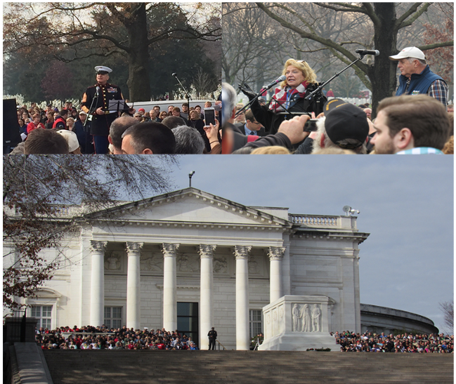Top left: Sgt. Maj. Bryan Battaglia shares his remarks on honoring Veterans; Top right: Karen and Morris Worcester, Wreaths Across America Co-Founders; Bottom: Crowds gathered at the Tomb of the Unknown Soldier