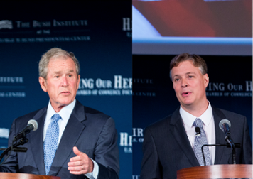 """President George W. Bush (left) opens and FASTPORT Co-Founder Jim Ray (right) closes """"Mission Transition"""" event at U.S. Chamber of Commerce"""