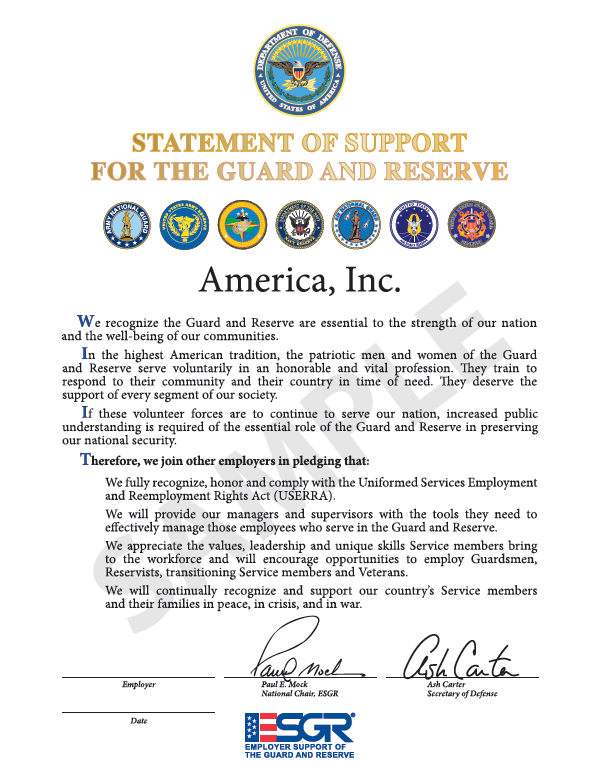 Sample of the Statement of Support organizations will sign during the signing ceremony at the Pentagon on December 14th.