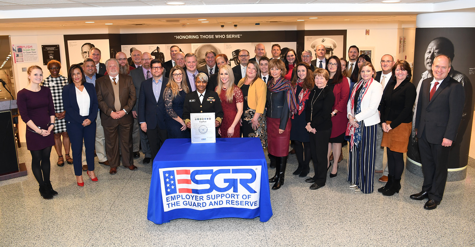 Employers and organization representatives photographed following the 2018 Statement of Support Signing Ceremony.