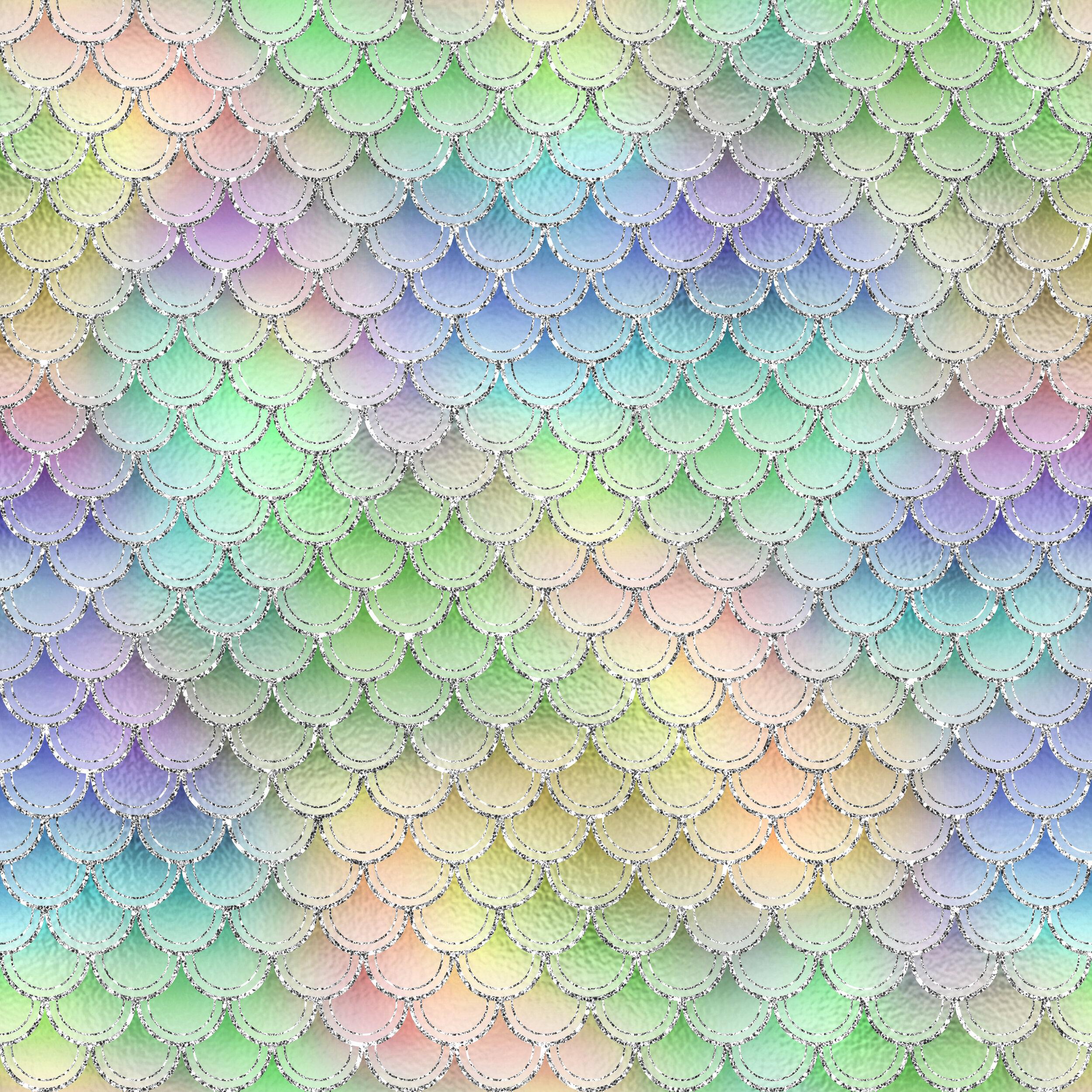 Glitter Mermaid scales pastel
