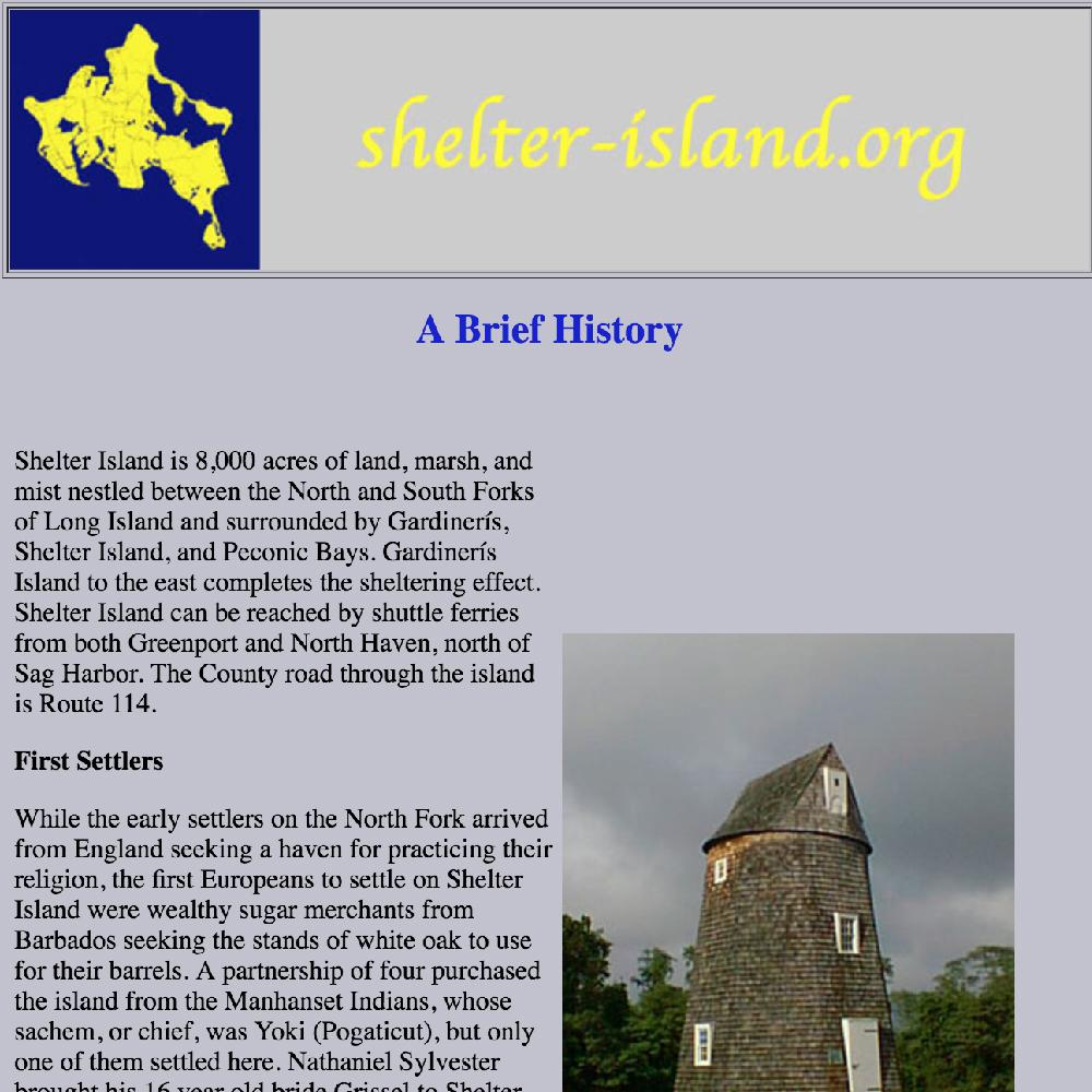Shelter-Island.org/History