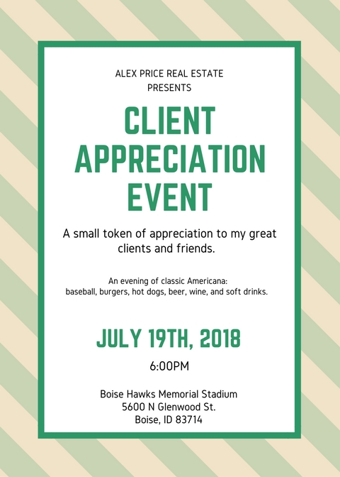 Time for Fun!!! - Annual Client Appreciation Event at Boise Hawks. I provide the tickets, food, and beverages. Please RSVP for ticket confirmations. If you haven't received the RSVP email, just ask me for one. Thanks to my friends at Finance of America for co-hosting!