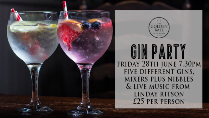 "Gin Party - Friday 28th June 2019   FREE ENTRY - LIVE MUSIC  Celebrate pay day with a party! Live music from Lindsay Ritson at 7.30pm - free entry, everyone welcome.  And if you want to add something extra and love gin? Then you will love this offer!  Enjoy five different gins with mixers, nibbles throughout the night and live music to really get the party started from Lindsay Ritson.  Here are some of our recommendations but you can choose whatever you fancy.   Brockmans "" The One ""  Recommended with Fever Tree Mediterranean tonic, pink grapefruit slices & blueberries   Whitley Neill Raspberry Gin "" Fruity Little Number ""  Recommended with Fever Tree Sicilian Lemon, raspberries & a fresh lemon wedge   Tanqueray No 10  ""  The Distinguished Gentelman  "" Recommended with Fever Tree Premium Indian tonic & fresh lime wedges   Hendricks "" Timeless Cassic ""  Recommended with Fever Tree Elderflower tonic & Cucumber slices   Tanqueray Flor De Sevilla  ""Dare to be Different""   Recommended with Fever Tree Spiced Orange & Ginger ale & fresh orange slices   Warner Edwards Elderflower Gin "" Stay Classy ""  Recommended with Fever Tree Light tonic, fresh lemon slices & mint   Gordons Gin "" Simple Yet Effective ""  Recommended with Fever Tree Premium Indian Tonic & fresh lemon wedge   Whitley Neill Blackberry Gin "" Summer Vibes ""  Recommended with Fever Tree Mediterranean tonic & blackberries   Warner Edwards Rhubarb Gin "" It's a Must ""  Recommended with Fever Tree Ginger Ale & fresh orange slices   Gordons Pink Gin "" Ladies Night ""  Recommended with Fever Tree Sicilian Lemon Tonic, raspberries & pink grapefruit slices   Bombay Sapphire "" Playing it Safe ""  Recommended with Fever Tree Premium Indian tonic & fresh lime wedges  £25 per person. Booking is available or just ask a member of the team on arrival.  For anyone pre-booking 6 places or more you will receive your place free!"