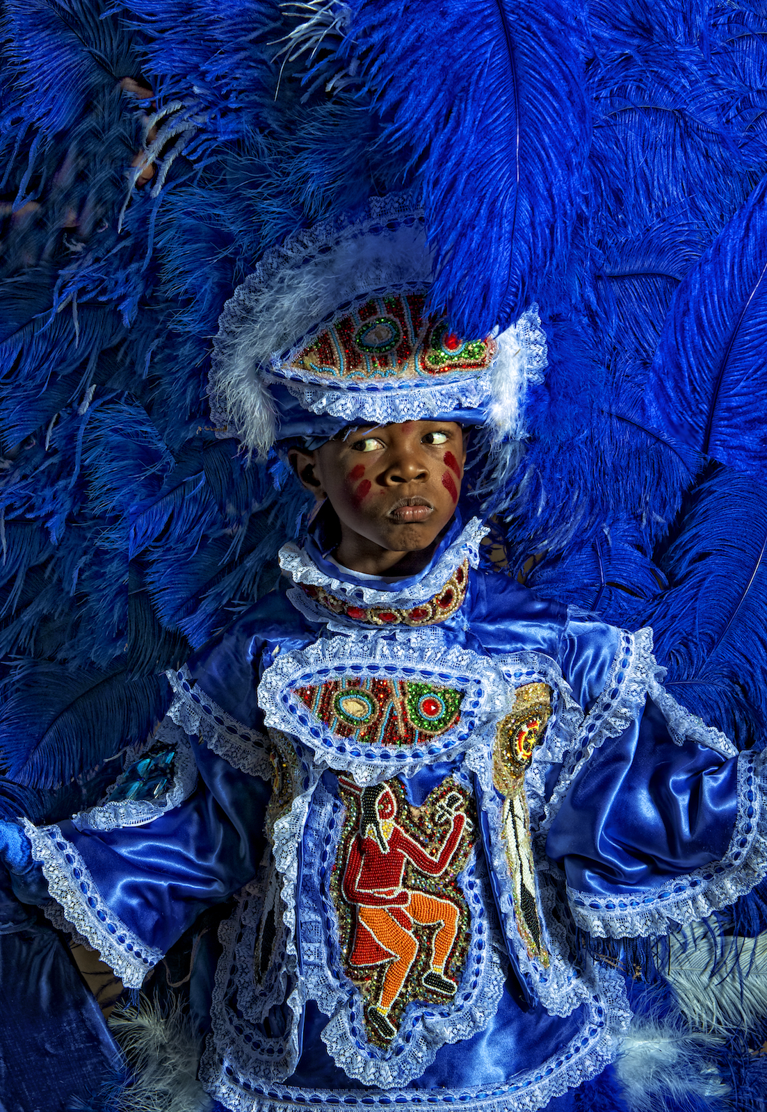 A Mardi Gras Indian in New Orleans.  Image by New Orleans based travel photographer, Marc Pagani - marcpagani.com