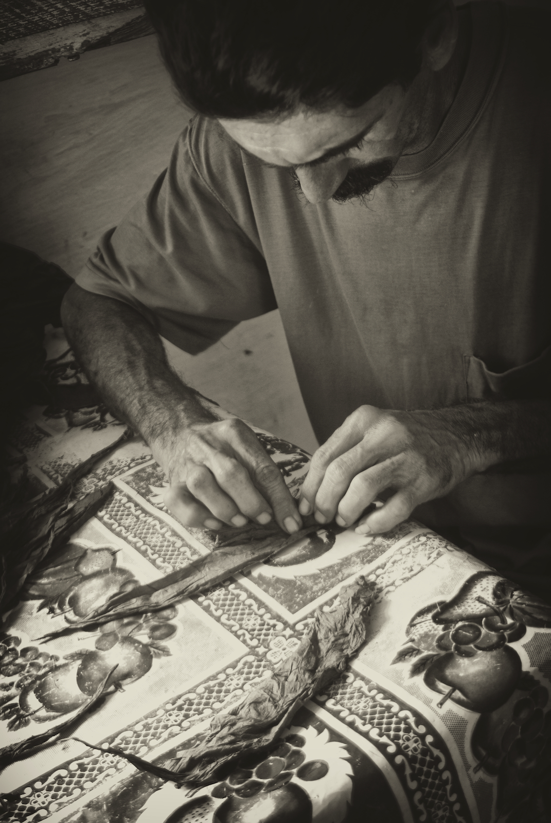 A tobacco farmer in Vinales, Cuba, rolls a cigar.  Image by New Orleans based travel photographer, Marc Pagani