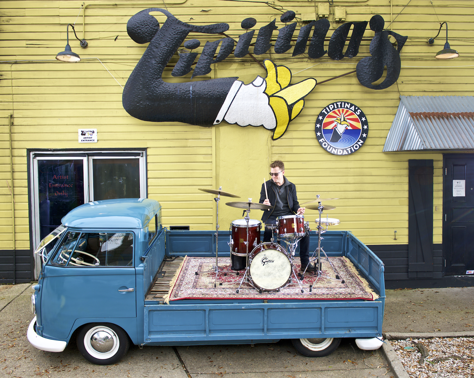 Stanton Moore Trio and Galactic drummer, Stanton Moore, in front of the legendary New Orleans music club, Tipitina's.  Photographed by New Orleans based photographer, Marc Pagani