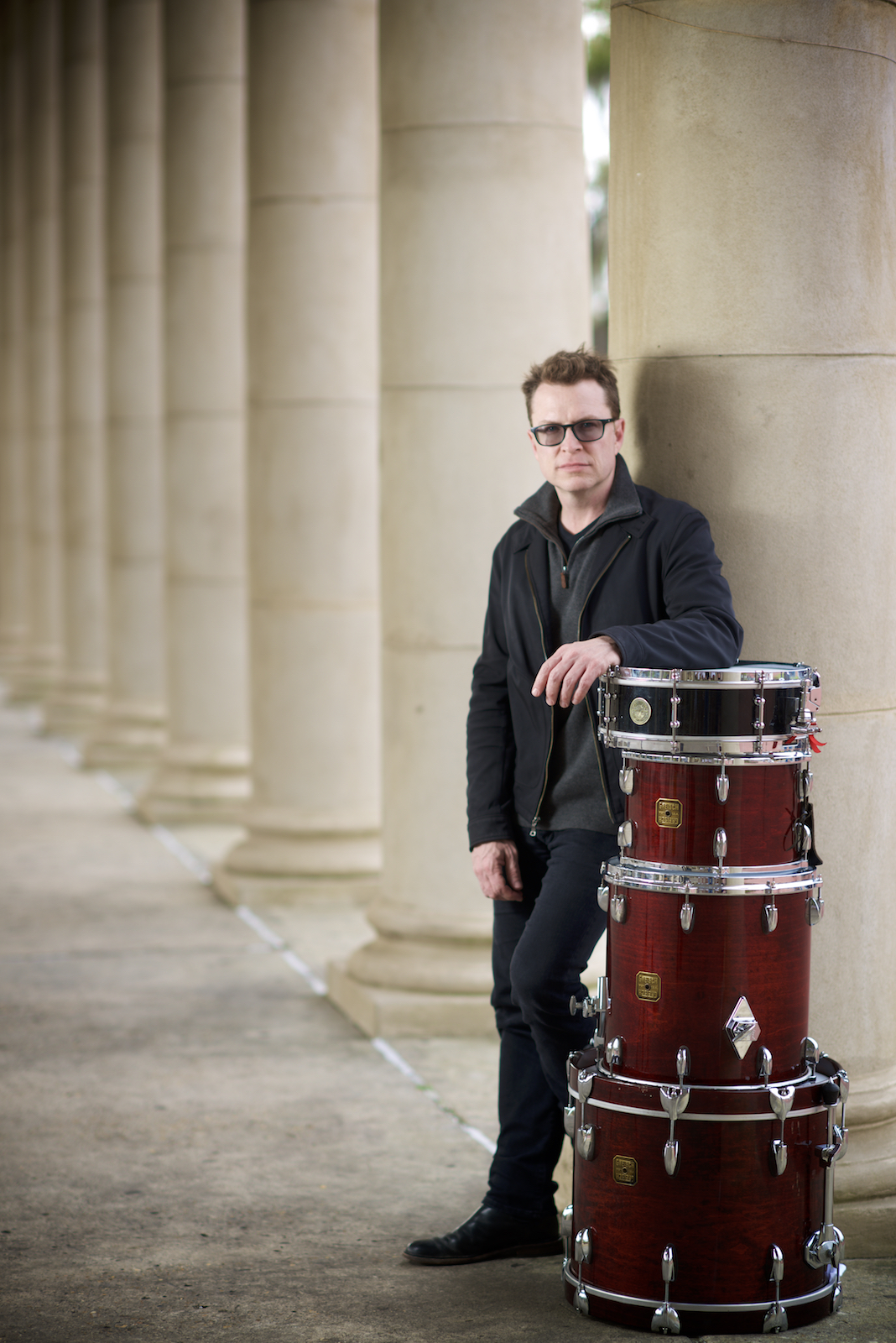 Galactic and Stanton Moore Trio drummer Stanton Moore, along with his Gretsch drumset, photographed in New Orleans City Park by New Orleans based photographer, Marc Pagani