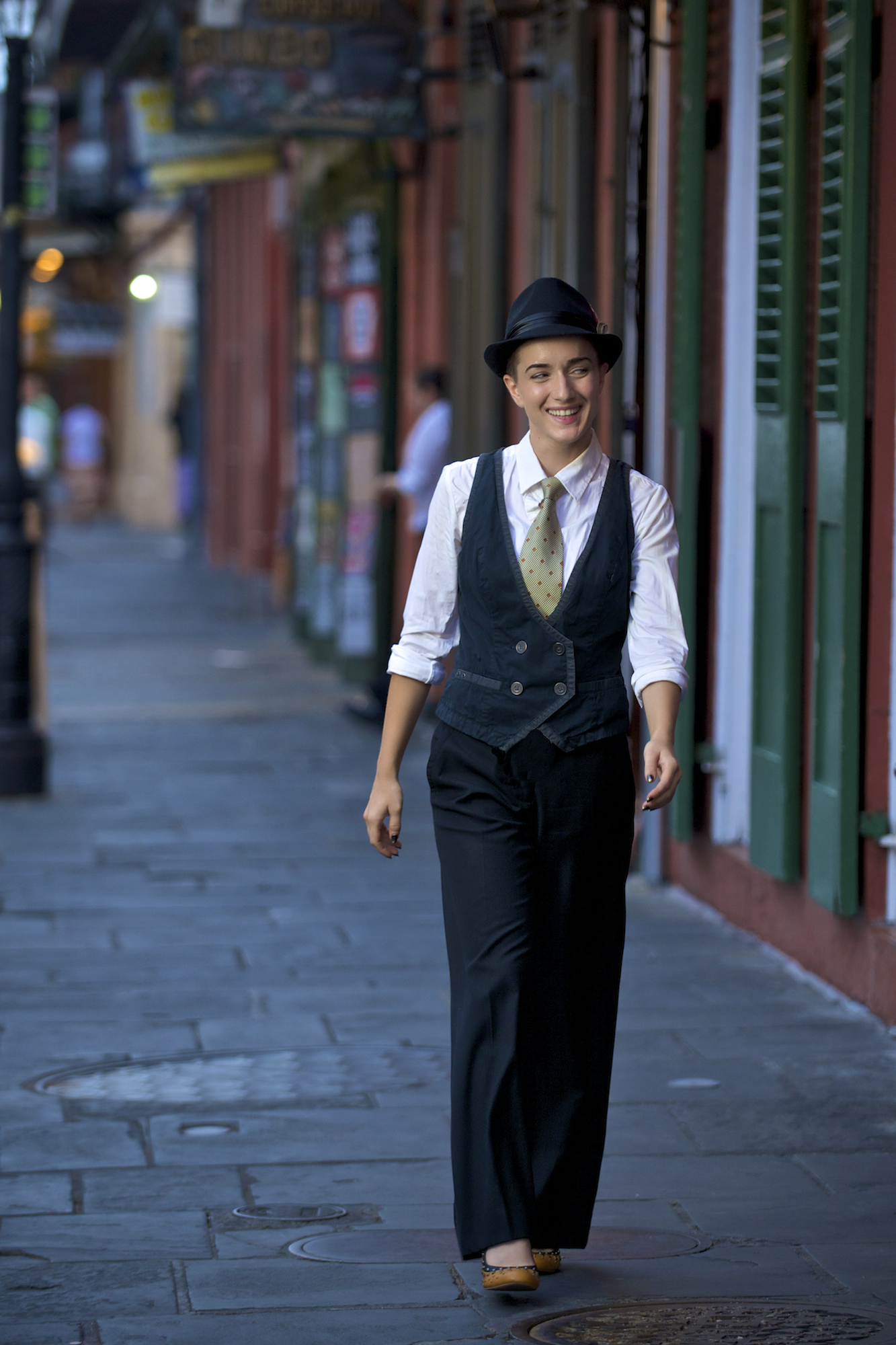 Model, singer, and actor, Kimberly Kaye,photographed in the New Orleans French Quarter by New Orleans based photographer, Marc Pagani