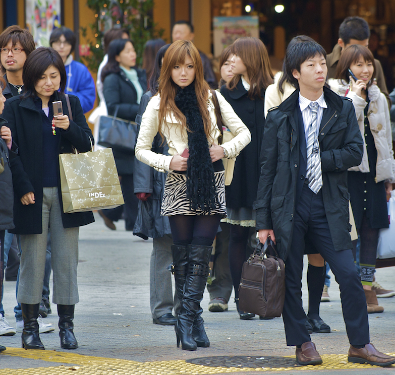 Office workers and fashion models in Shibuya, Japan.  Image by New Orleans based travel photographer, Marc Pagani - marcpagani.com