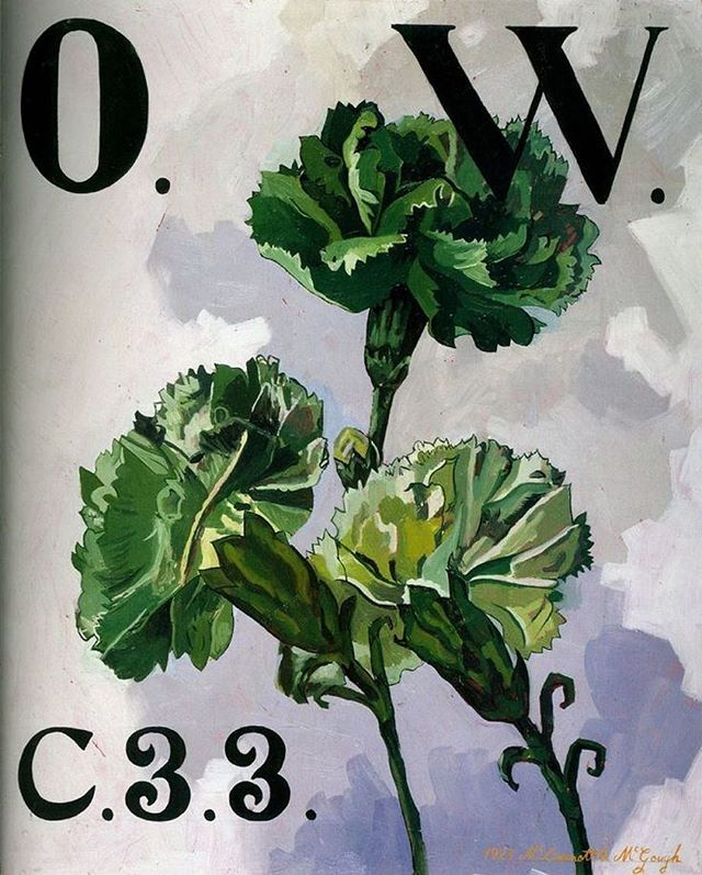 "An early ode to Oscar Wilde by McDermott & McGough, ""The Green Carnation, OW C33"", 1994 - Green Carnations have come to stand as a symbol for Oscar Wilde. In 1892, Wilde had one of the actors in Lady Windermere's Fan wear a green carnation on opening night and told a dozen of his young followers to wear them too. Soon the carnation became an emblem of Wilde and his group. A parody of Wilde was published in 1894 called The Green Carnation—its author withdrew the book from publication during the Wilde trial because he felt it had helped bring Oscar down."