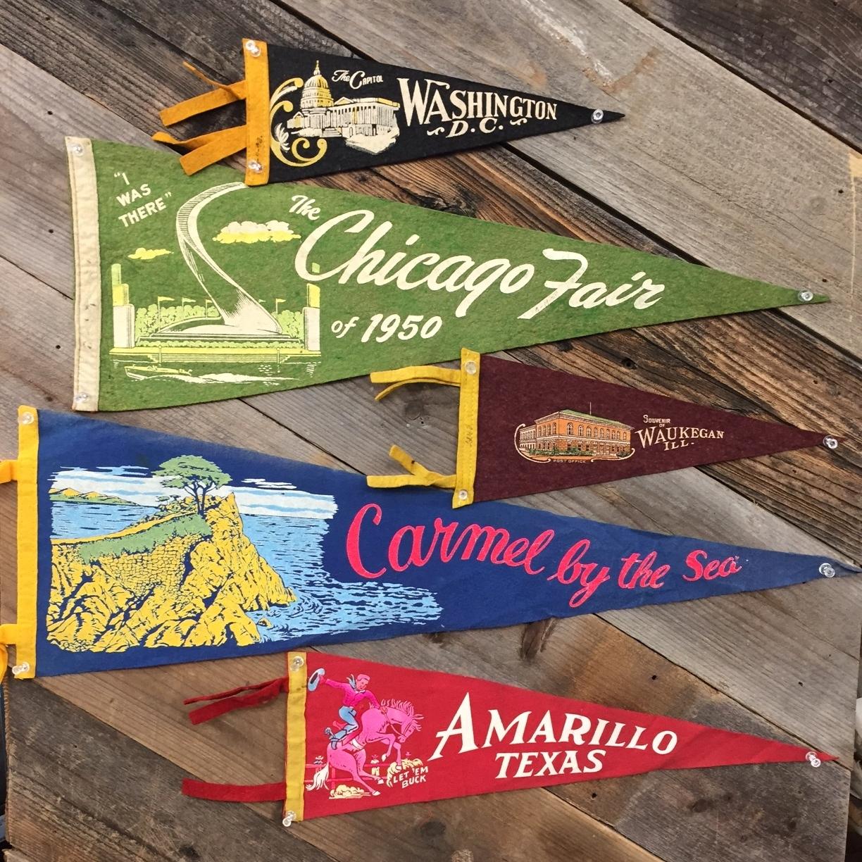 Vintage Felt Souvenir Pennants, $15 to $35
