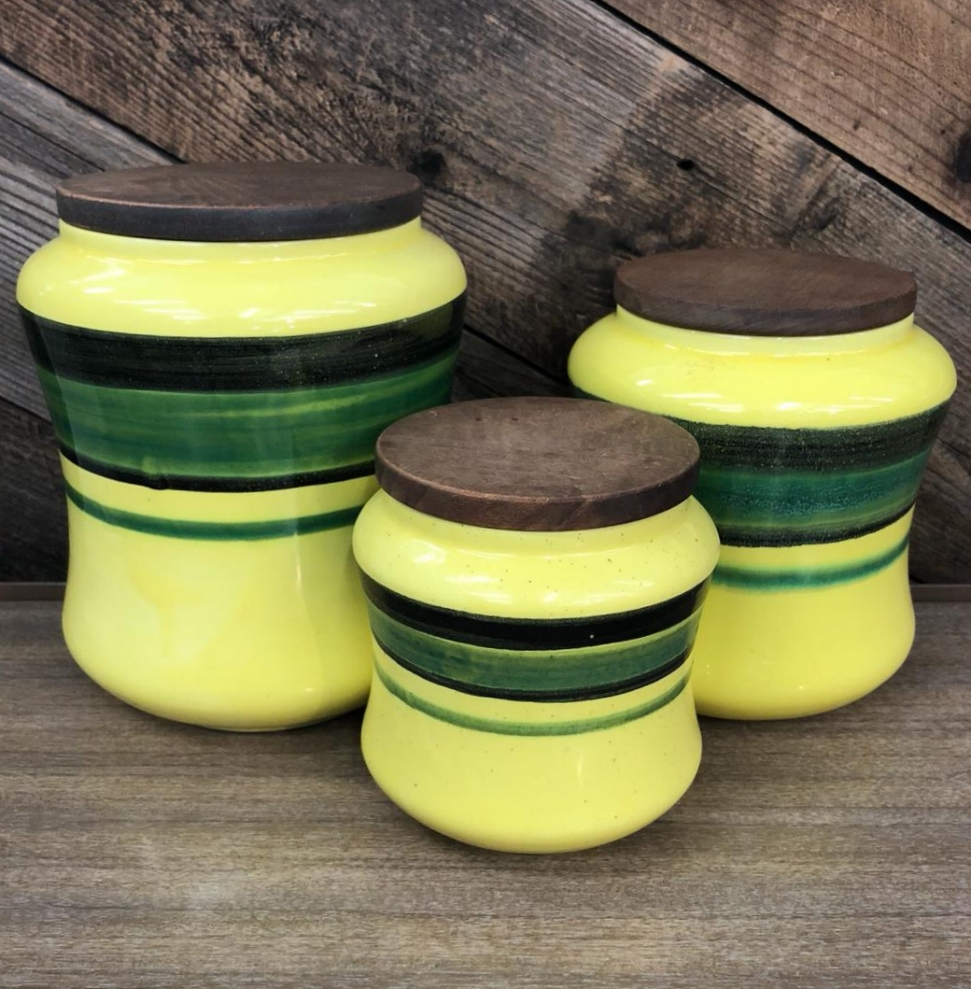 Italian Ceramic Canister Set, 3 Pieces