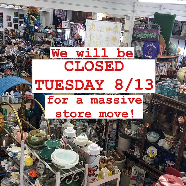 Tomorrow (Tuesday the 13th) we will be CLOSED while we pick up and move (almost) every one of the 30,000 items & fixtures in the shop! Watch our story for a behind-the-scenes look at the process. We'll be back open at 11 AM on Wednesday!
