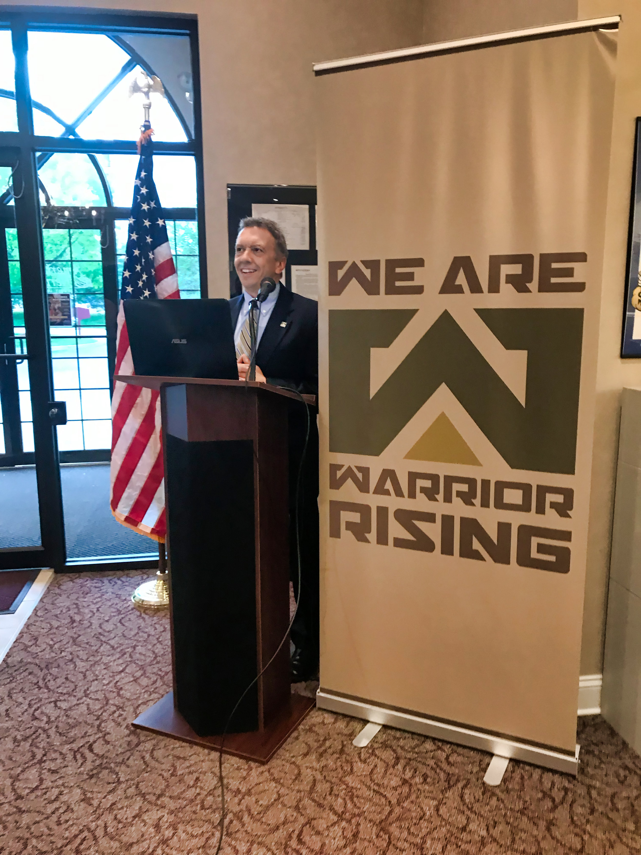 Sir Knight Ken Vennera - Master of Ceremony for Warrior Rising gathering at the American Heritage Savings Bank, King of Prussia, PA.