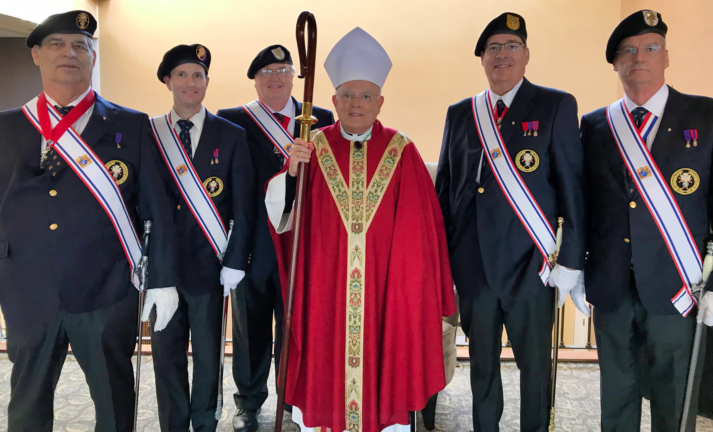 Most Reverend Charles J. Chaput, O.F.M. Cap., Archbishop of Philadelphia at the KofC State Convention in King of Prussia, PA with Sir Knights as Color Corps.