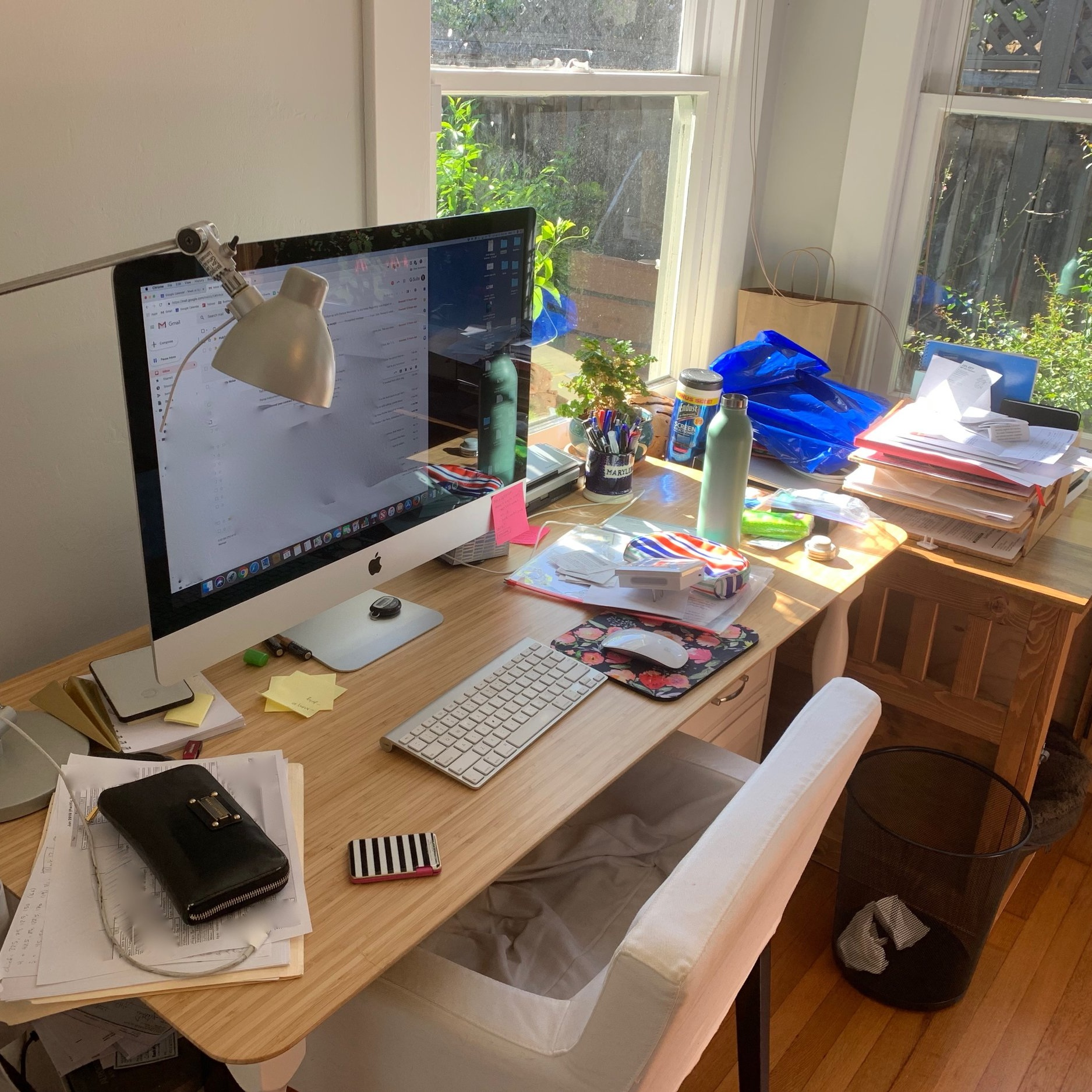 The before: My desk after two weeks of neglect.