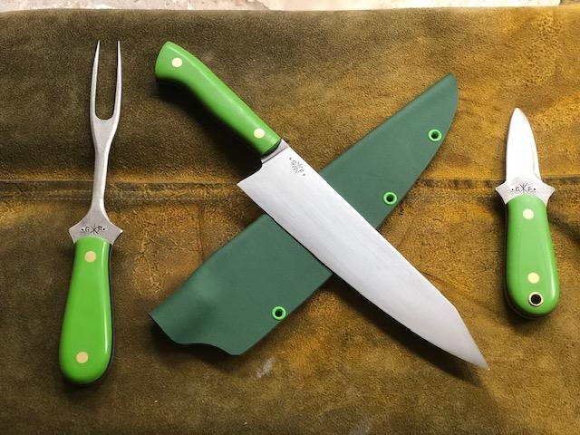 "set commission - fork, k-tip full tang chef's knife and a ""hinge cracker"" oyster"