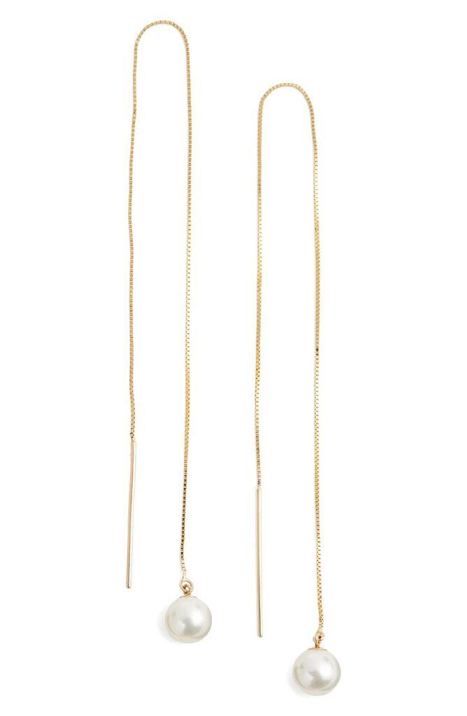 Poppy Finch, Pearl Threader Earrings , $260.90, …fter sale $395