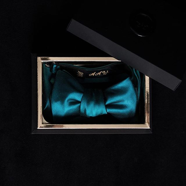 Custom teal two tone 100% silk taffeta bow tie