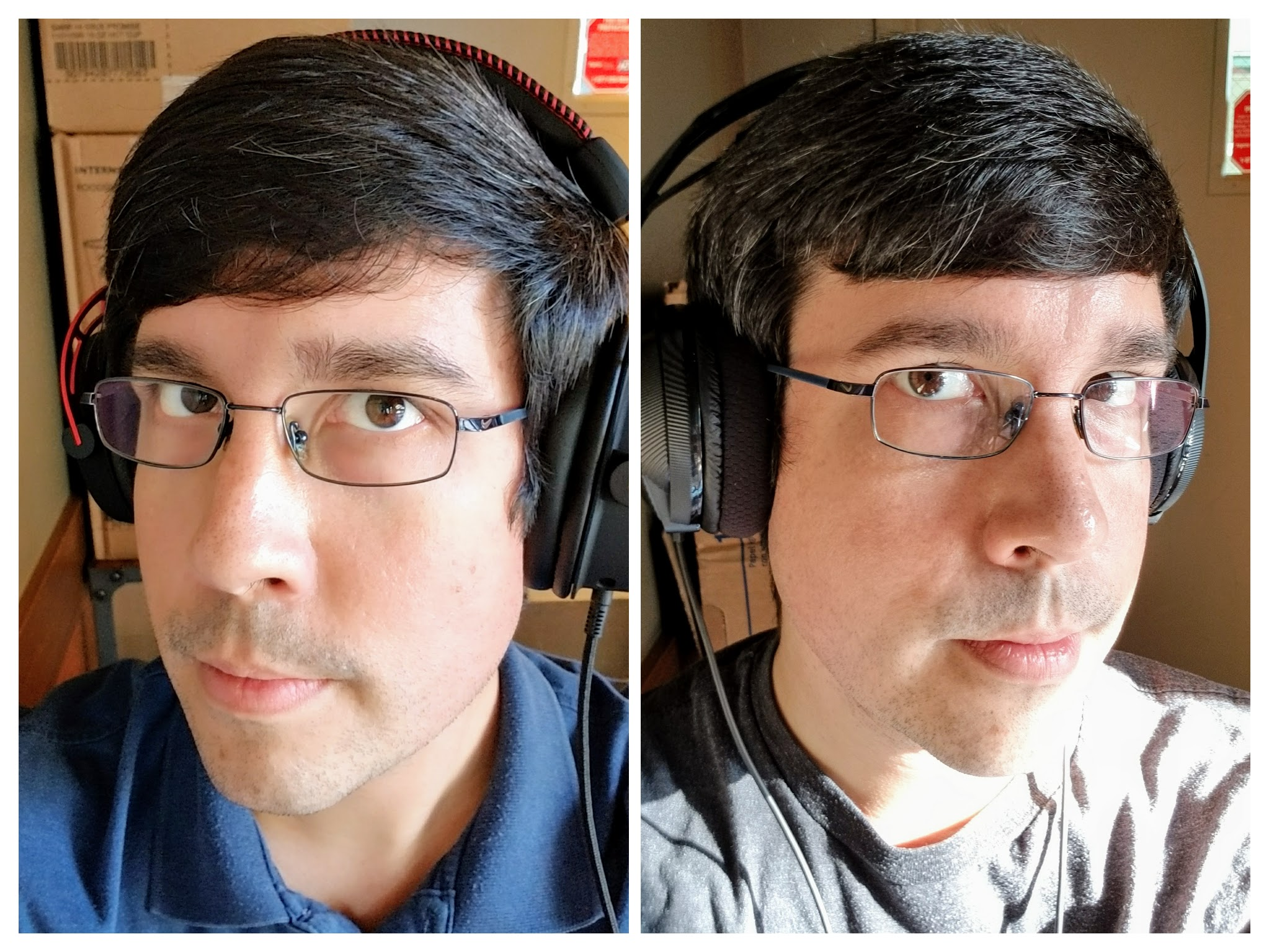 The Google Photos collage feature sort of cut the sides off of both of these photos oh well. Both headsets look decent on the head, even though the RIG 400 is a bit angular in the hands.