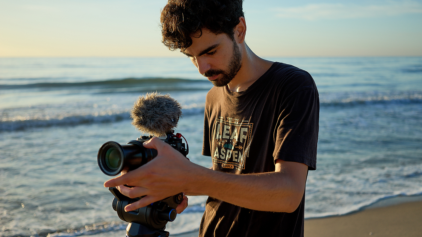 Filming by the beach