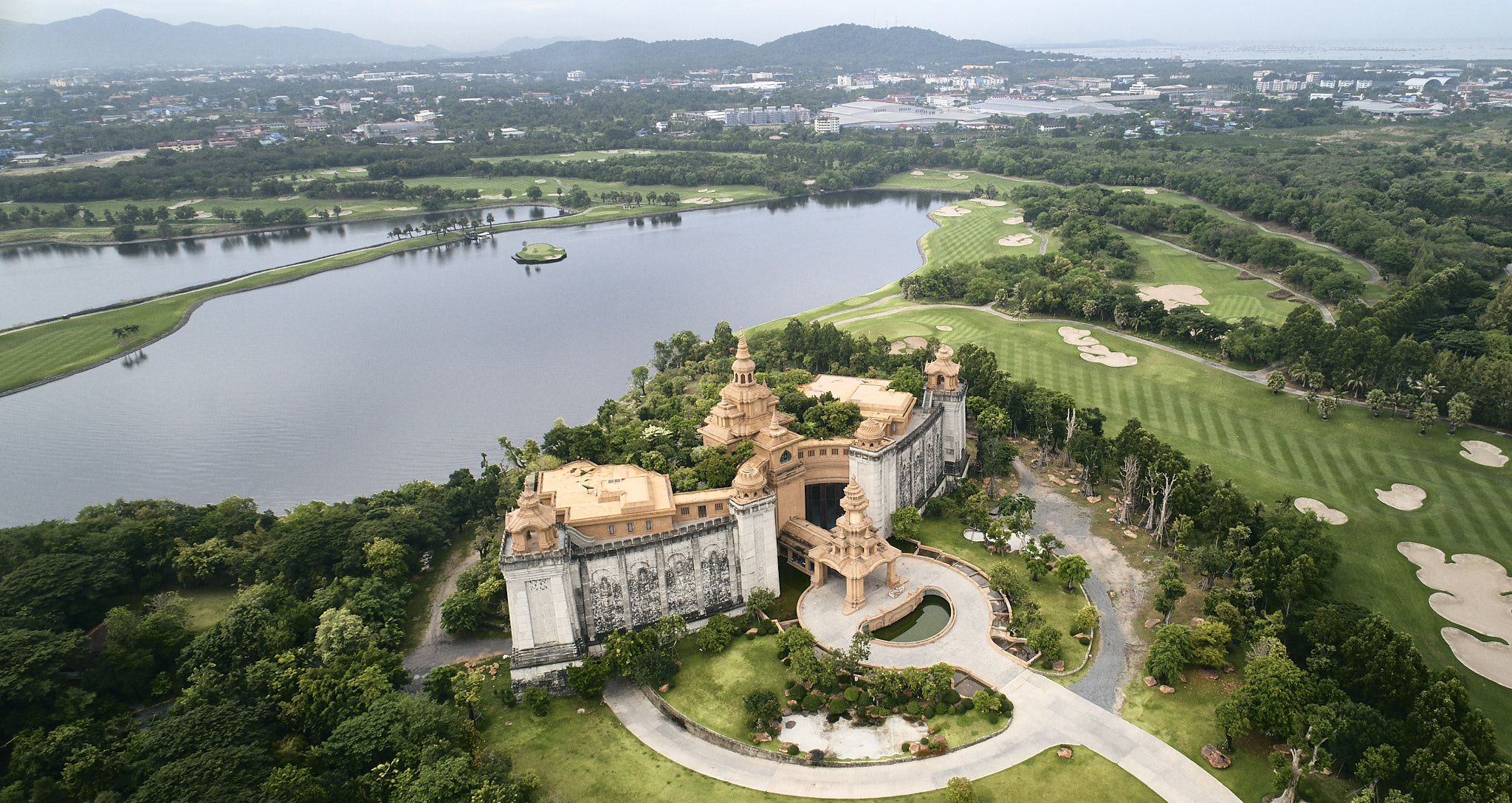 The massive castle overviewing the entire Amata Spring Golf Club owned by the Chon Buri industrial park landlord