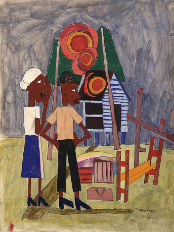 Burned Out, 1943, oil on wood 32 1/2 x 26 1/2 in., © William H. Johnson, Smithsonian American Art Museum, Gift of the Harmon Foundation, used with permission.