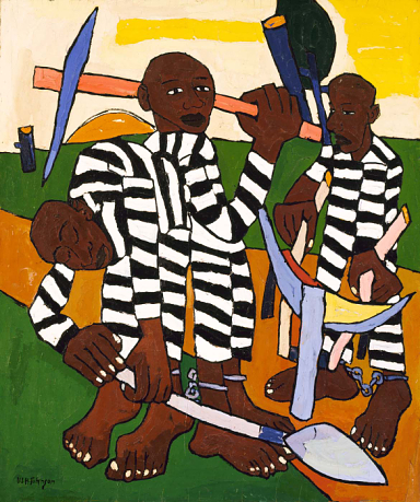 Chain Gang, 1939, oil on plywood 45 3/4 x 38 1/2 in., © William H. Johnson, Smithsonian American Art Museum, Gift of the Harmon Foundation, used with permission.