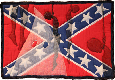 """Southern Heritage, Southern Shame, 2001, © Gwendolyn A. Magee. Pieced, quilted, and appliquéd fabrics, with cording, 22.5""""x 32.5"""" Courtesy the Estate of Gwendolyn A. Magee."""