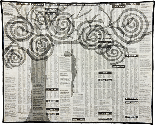 """Blood of the Slaughtered I, 2001. Pieced, quilted, stitched, and appliquéd fabrics, with cording. 70""""x 85.5"""" © Gwendolyn A. Magee. Courtesy the Estate of Gwendolyn A. Magee."""