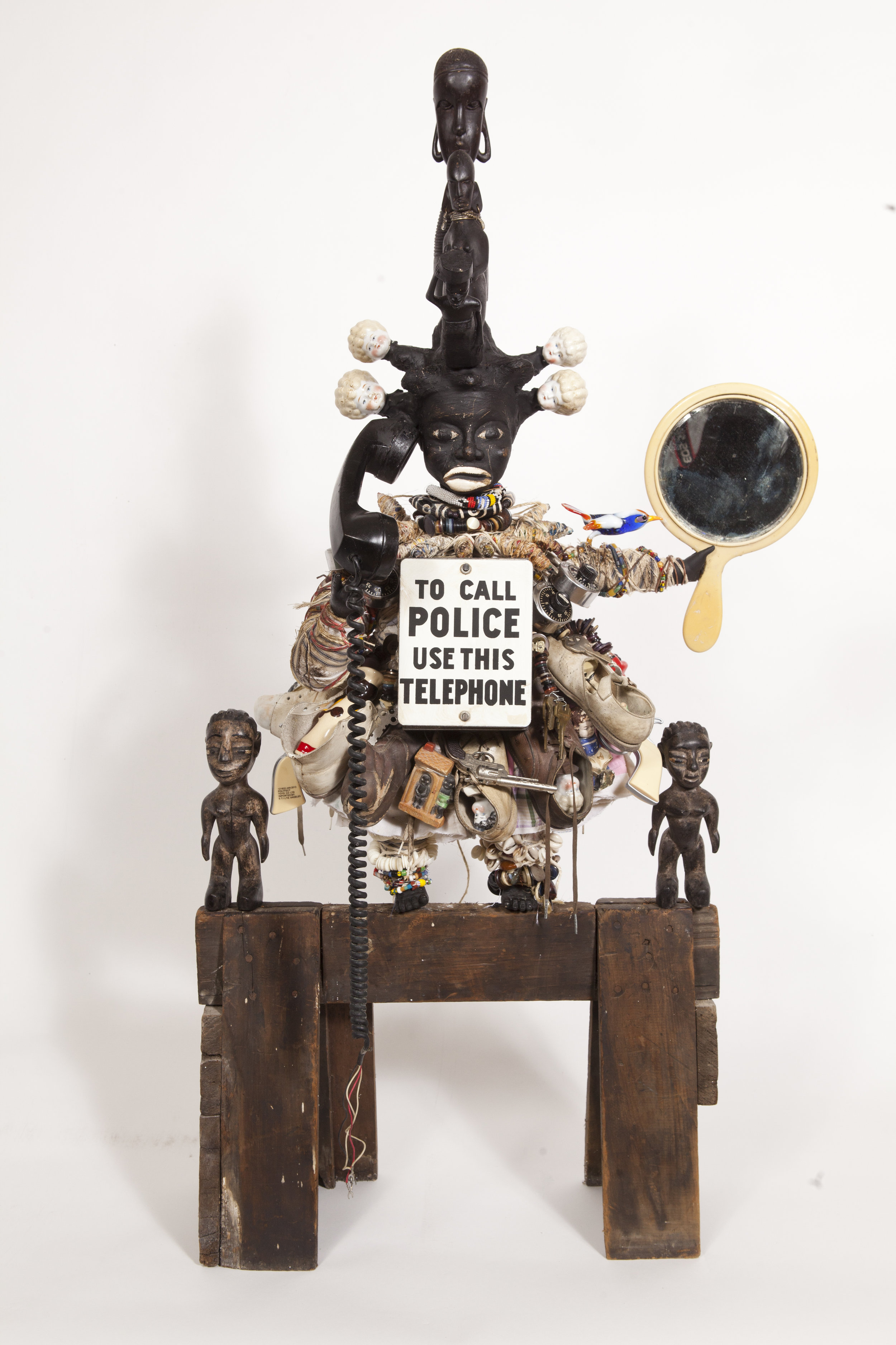 Reality Check: To Call the Police Use this Phone, 2013, Mixed media assemblage 46 x 24 x 14 inches, © Vanessa German, courtesy of the artist and Pavel Zoubok Gallery, New York.