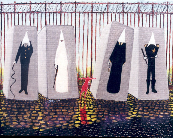 American Sculpture Garden, 2004, 10 x 12 inches, acrylic on canvas © Zeal Harris, used with permission of the artist.