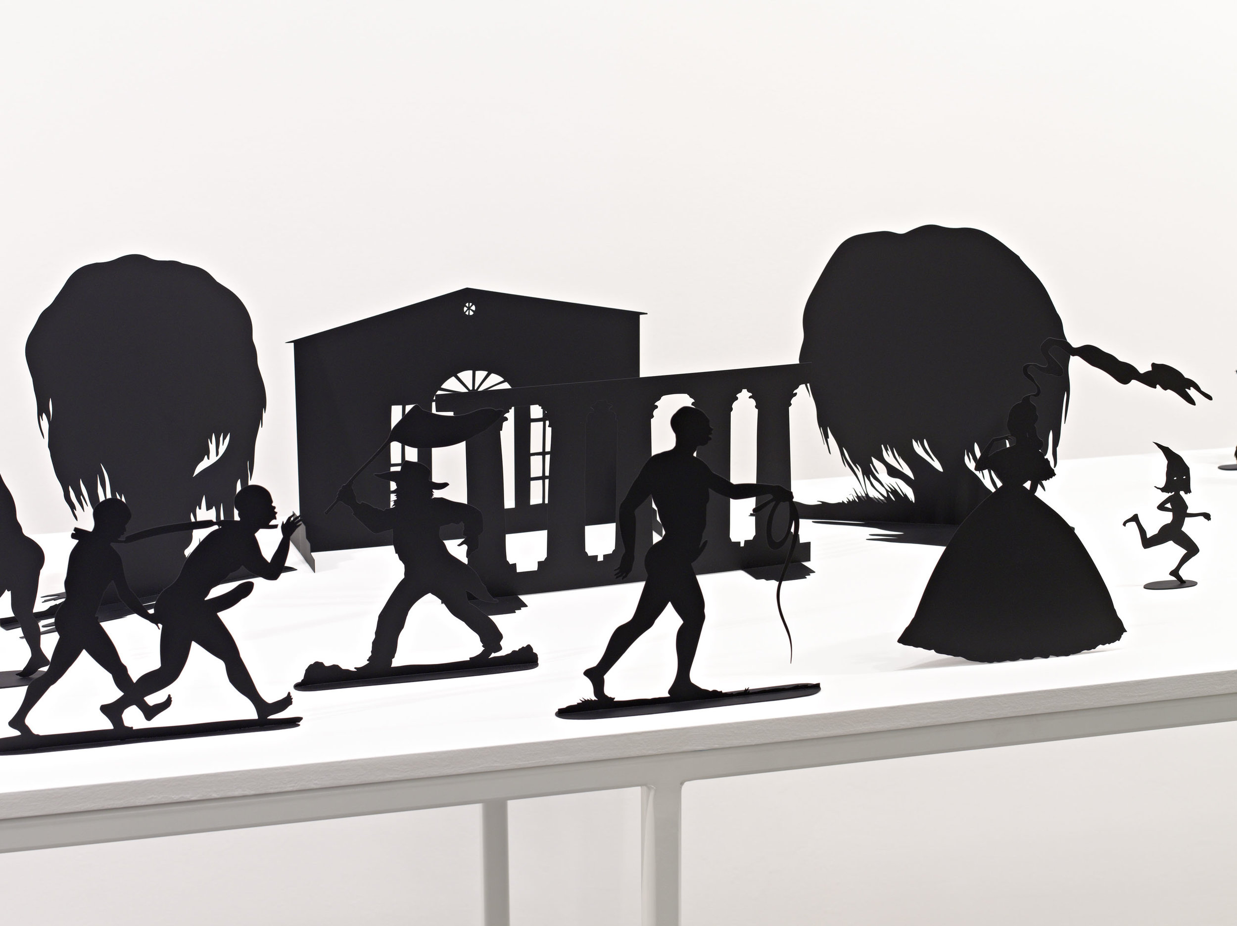 """""""Detail,"""" Burning African Village Play Set with Big House and Lynching, 2006. Painted laser cut steel, 22 parts, dimensions variable © Kara Walker. Images courtesy of Sikkema Jenkin & Co., New York"""