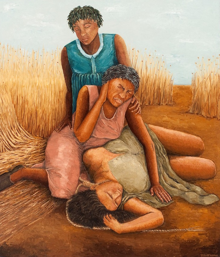 """Three Generations. 48"""" x 56"""" oil painting.  © Jennifer Scott, 2009. Used with permission of the artist."""