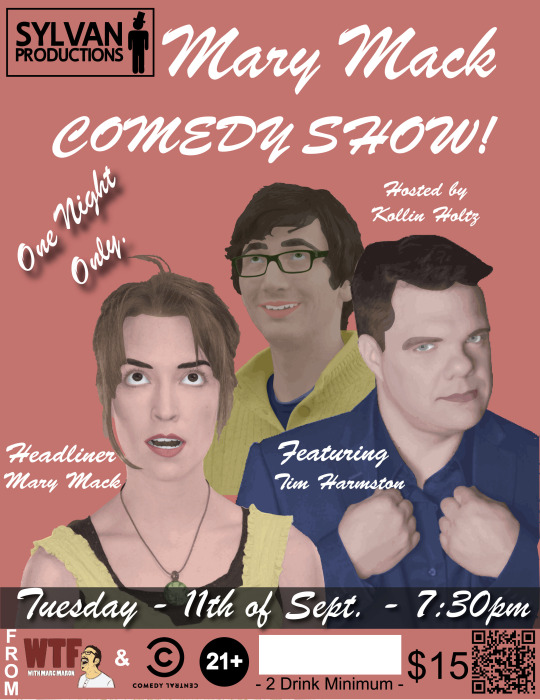 Two very funny people above,    Mary Mack    &    Tim Harmston   .    Check them together on this episode of Spicy News   .I tried very hard to make the poster look vaudeville-esque.