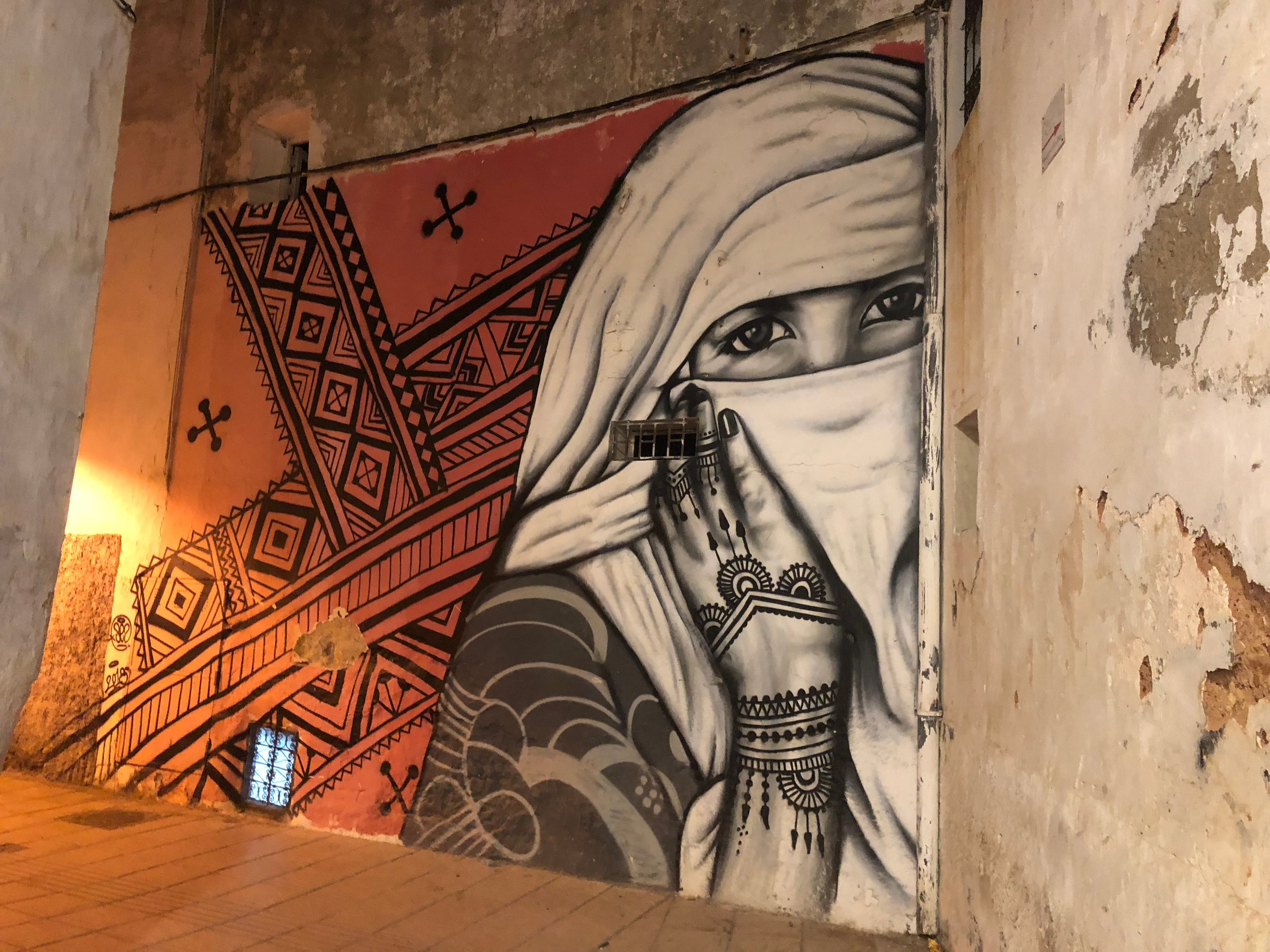 A wall mural I spotted in an alley in Rabat, Morocco