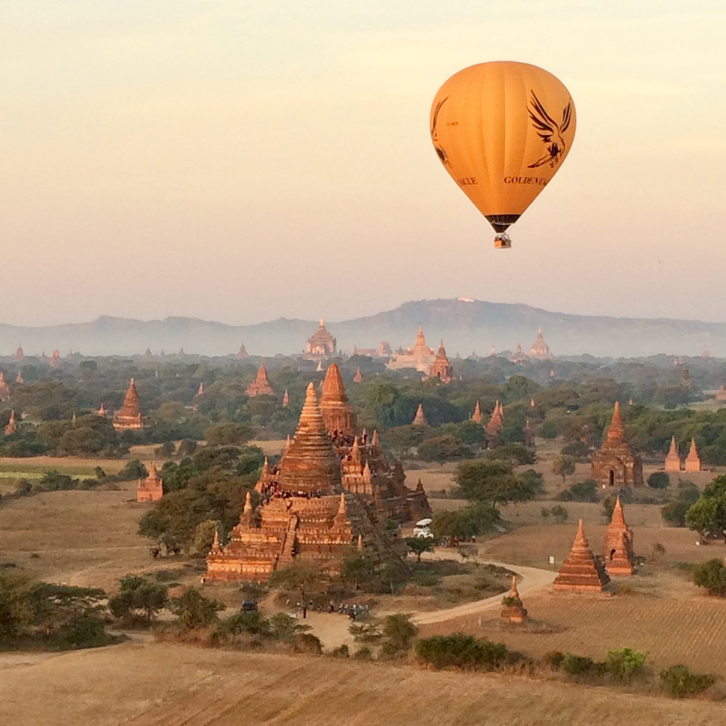 Hot air balloon flying over Bagan. The six month adventure route.