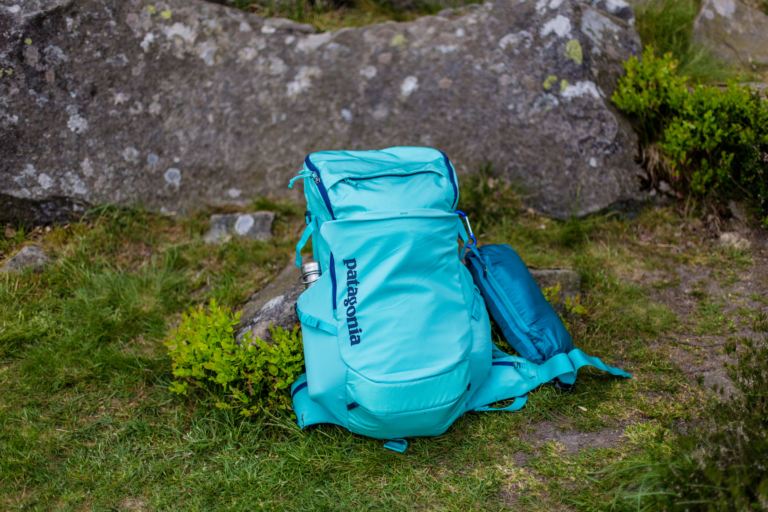 The 26L Nine Trails Pack with my Micro-puff hung on the side