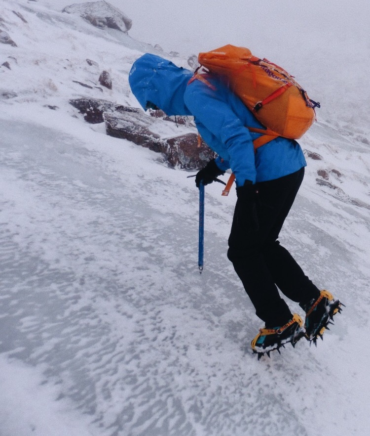 Using the Grivel g12 crampons and an ice axe borrowed from a friend!