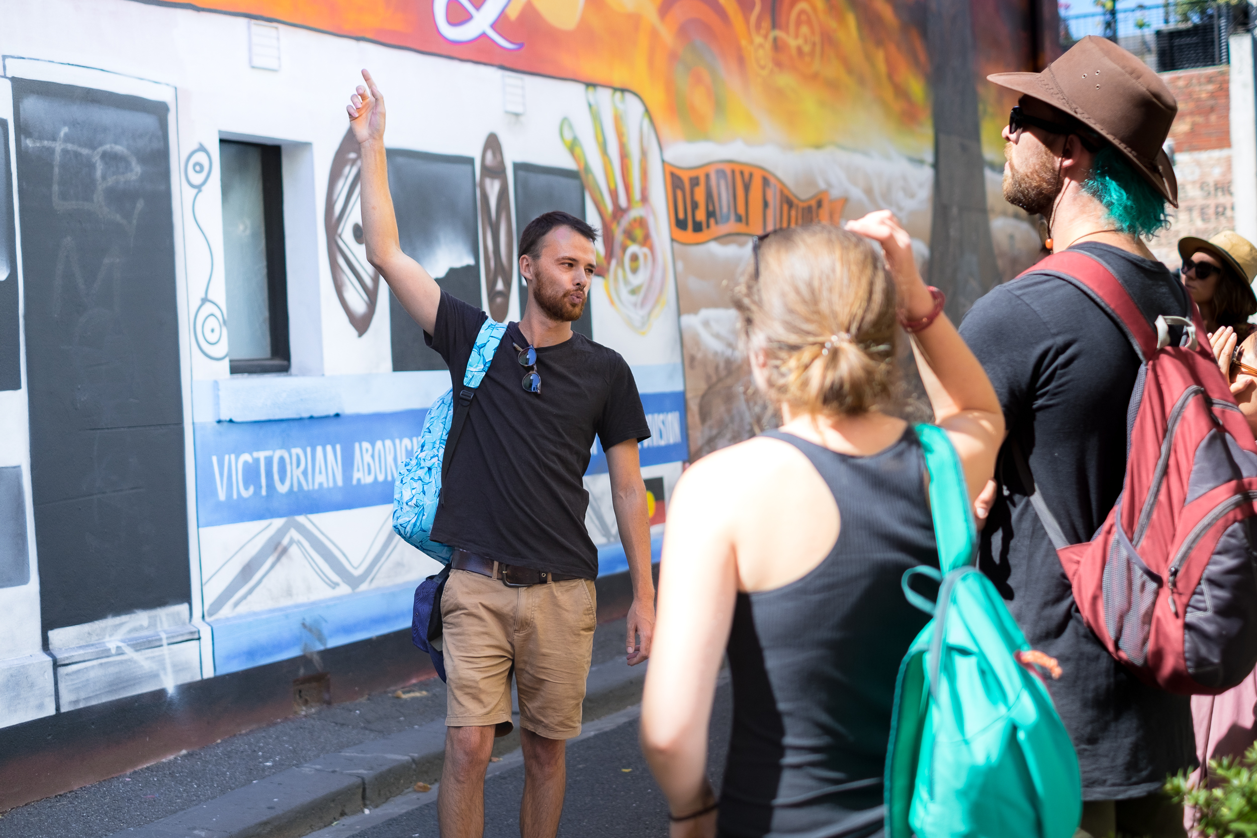 Our local insider guide introducing guests to some of our favourite street art on The Alternative Tour in Fitzroy, Melbourne.