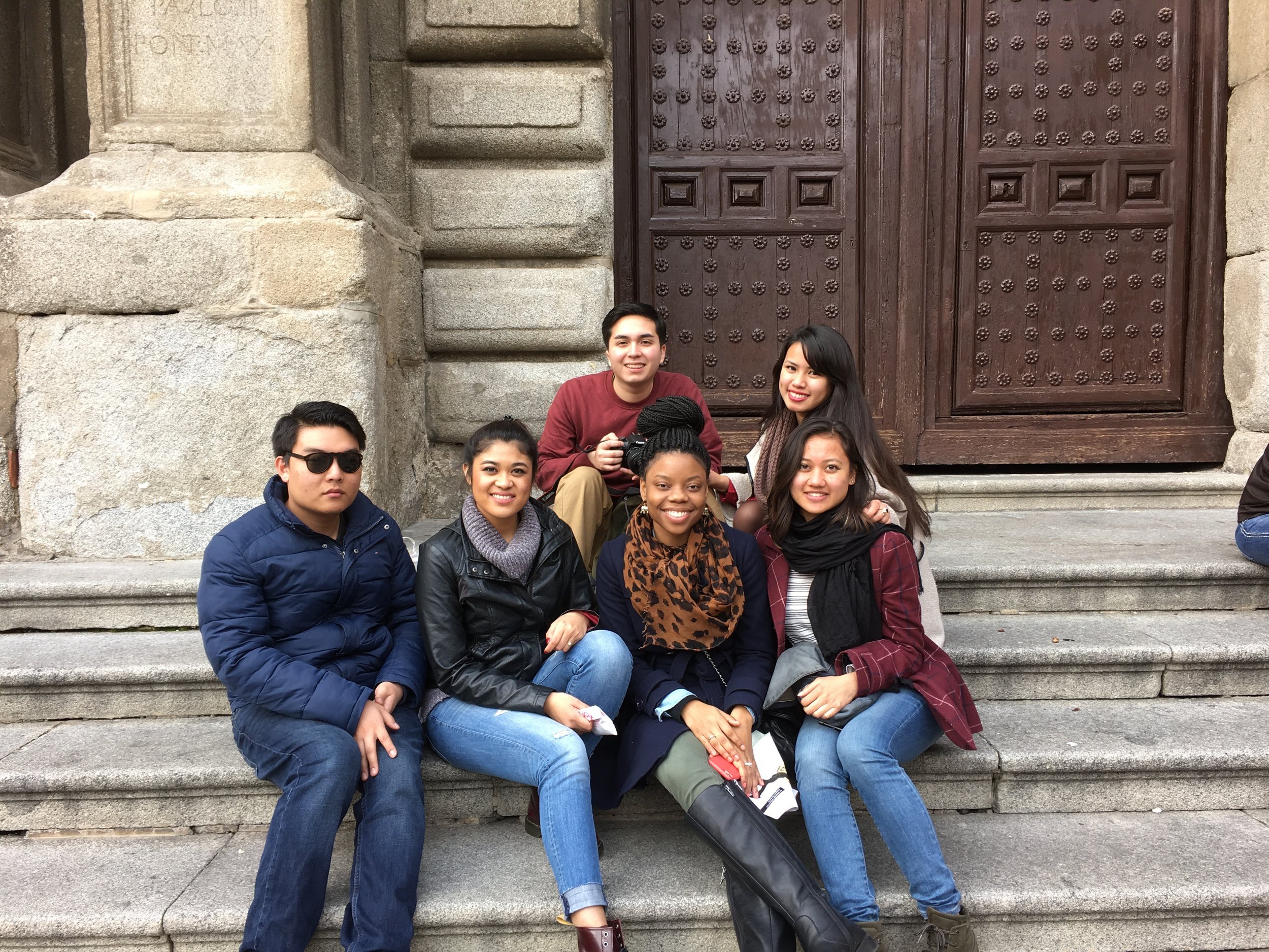 Hanging out on Cathedral steps- Toledo, Spain