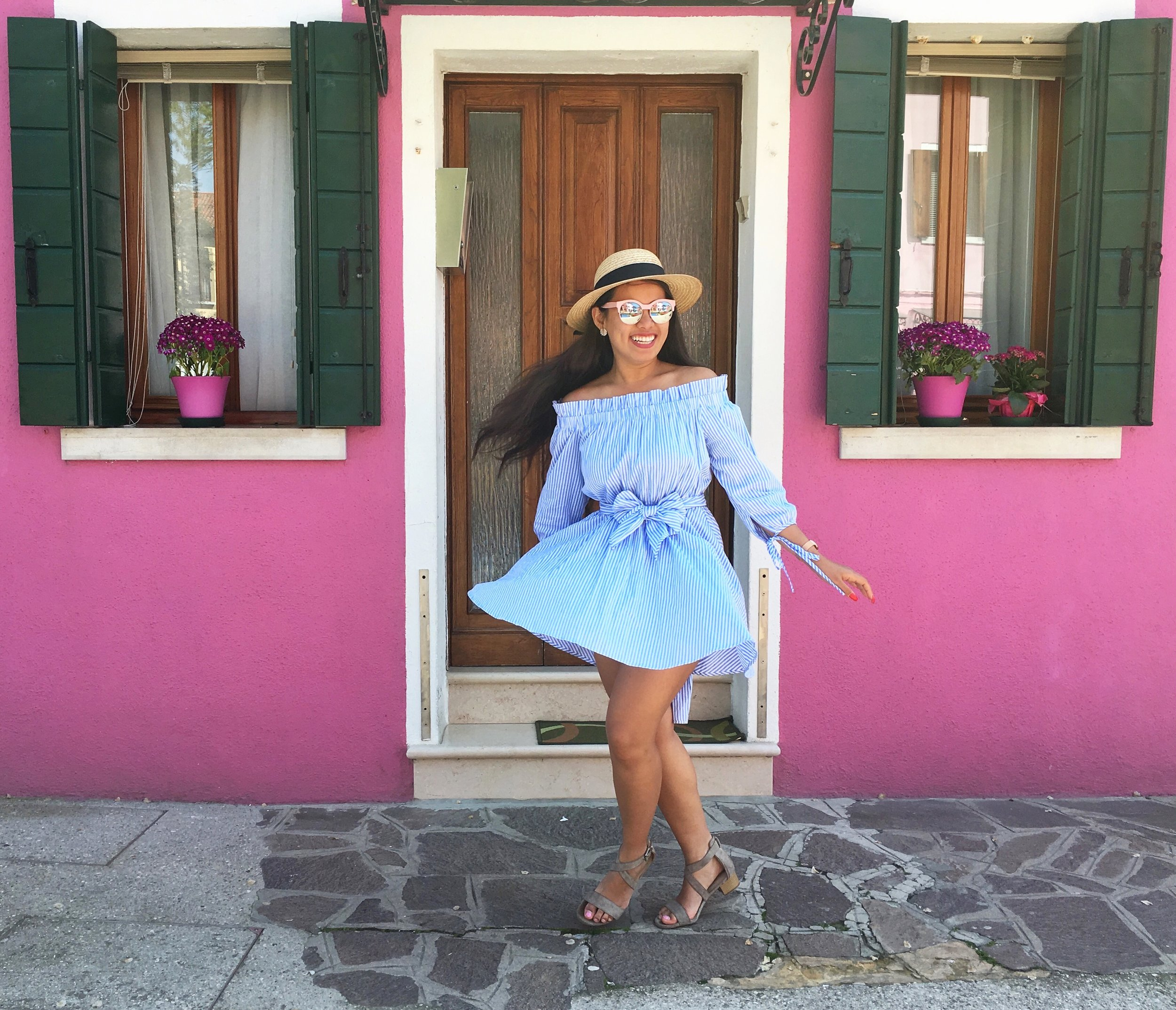 Feeling happy as can be in  Burano, Italy