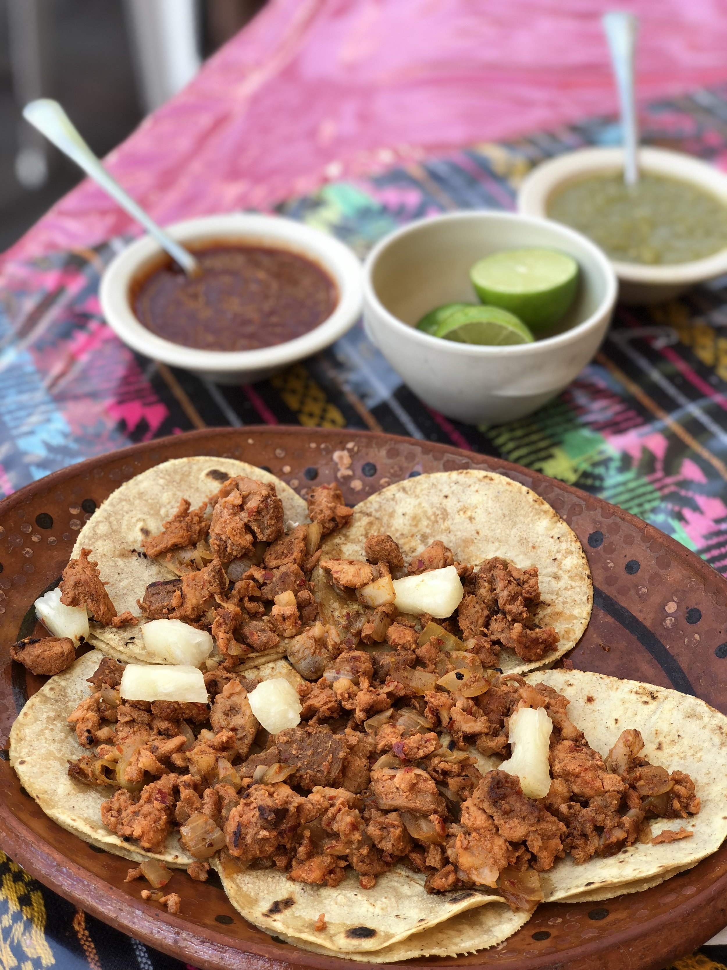 5 tacos al pastor's for 56 pesos ( that's less than $3 USD for all of this!)
