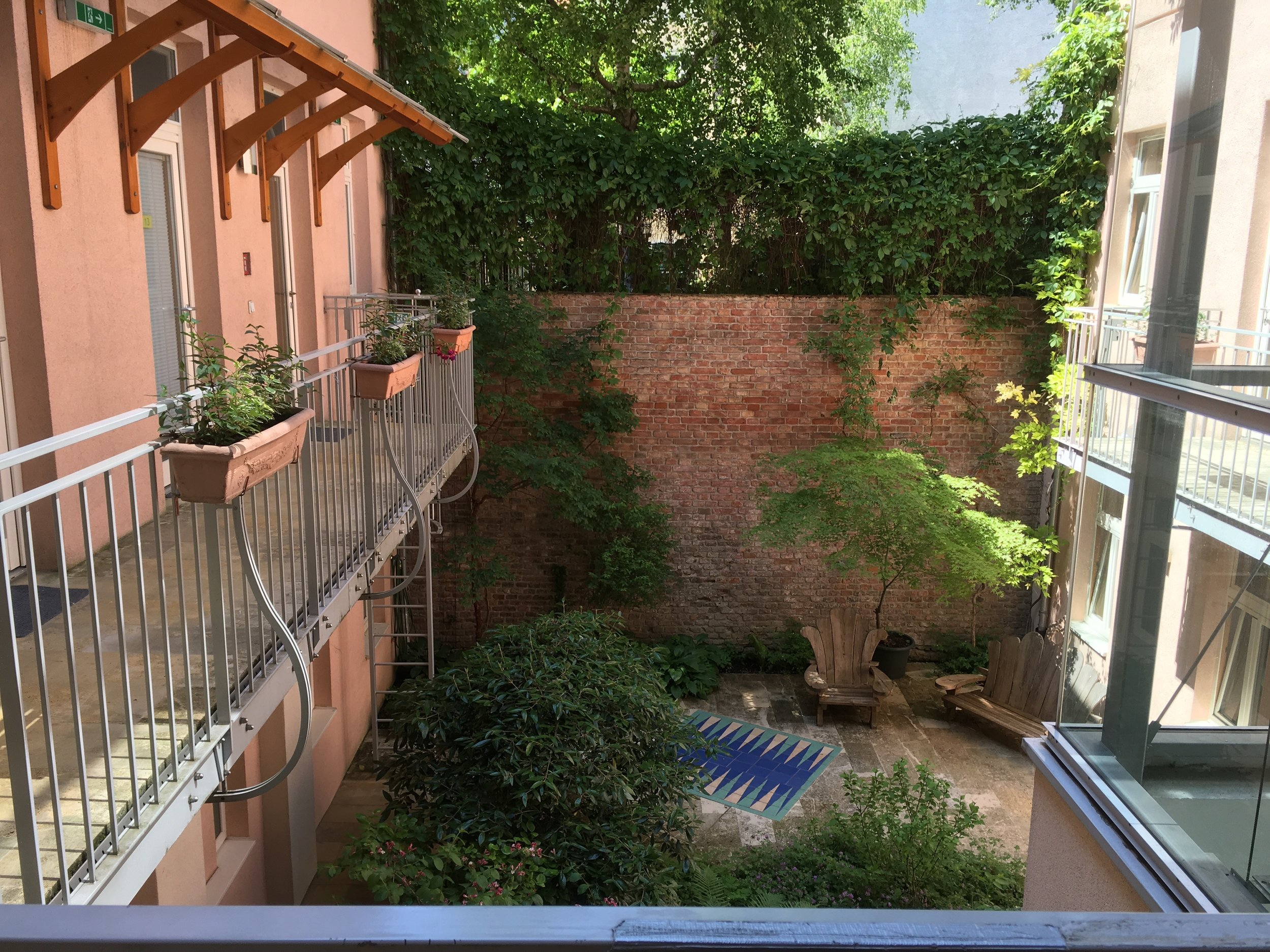 The courtyard view outside of my hostel room while I was backpacking throughout Europe (Vienna, Austria)