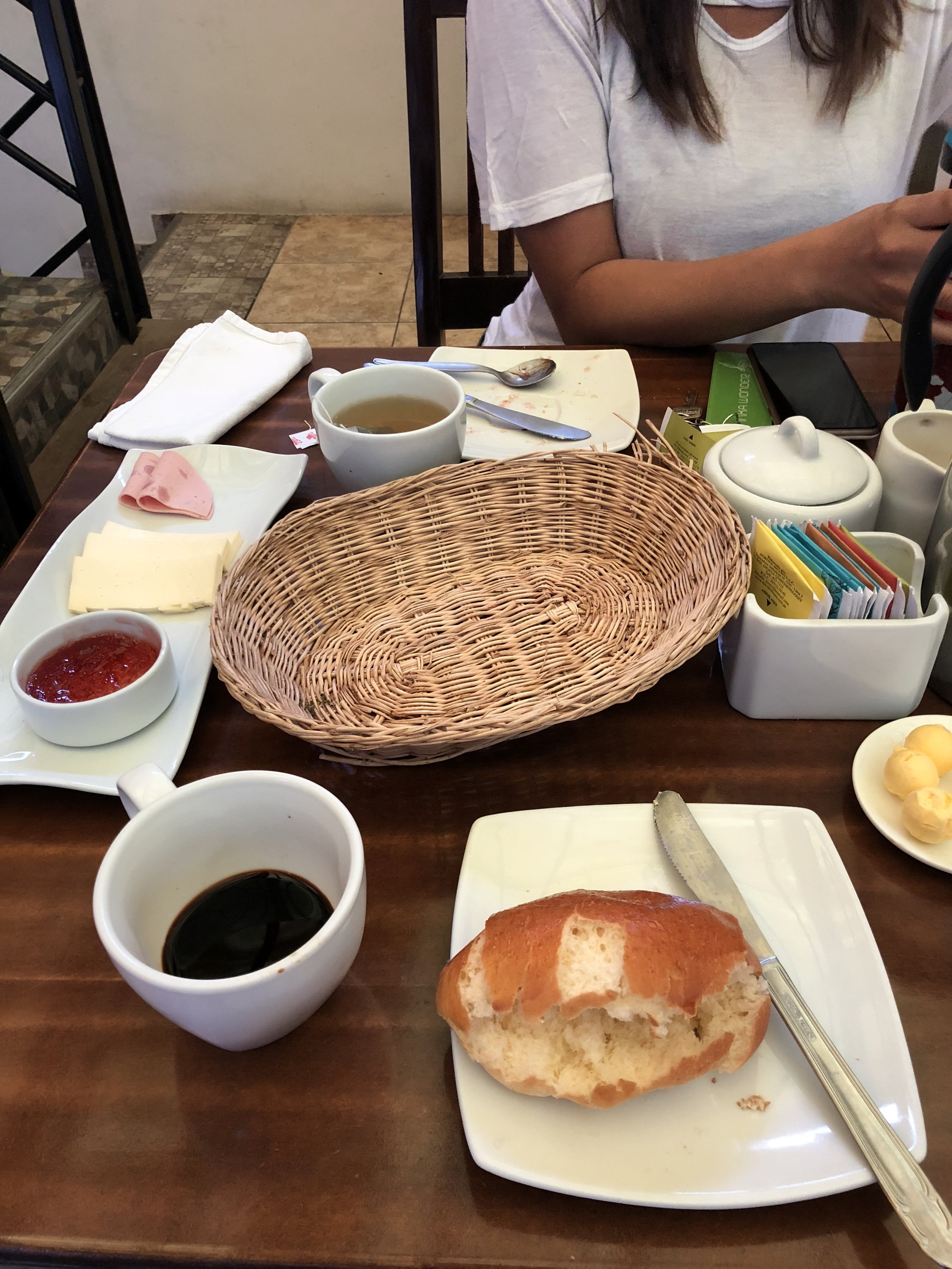 Oh our breakfast actually includes jam AND mystery meat?! WHAT A TREAT!!! (Aguascalientes, Peru)