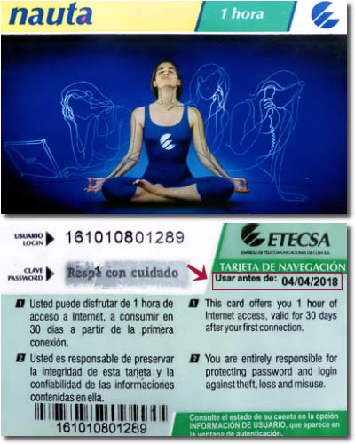 The  Nauta  cards that you will have to purchase in order to use the ETECSA hotspots