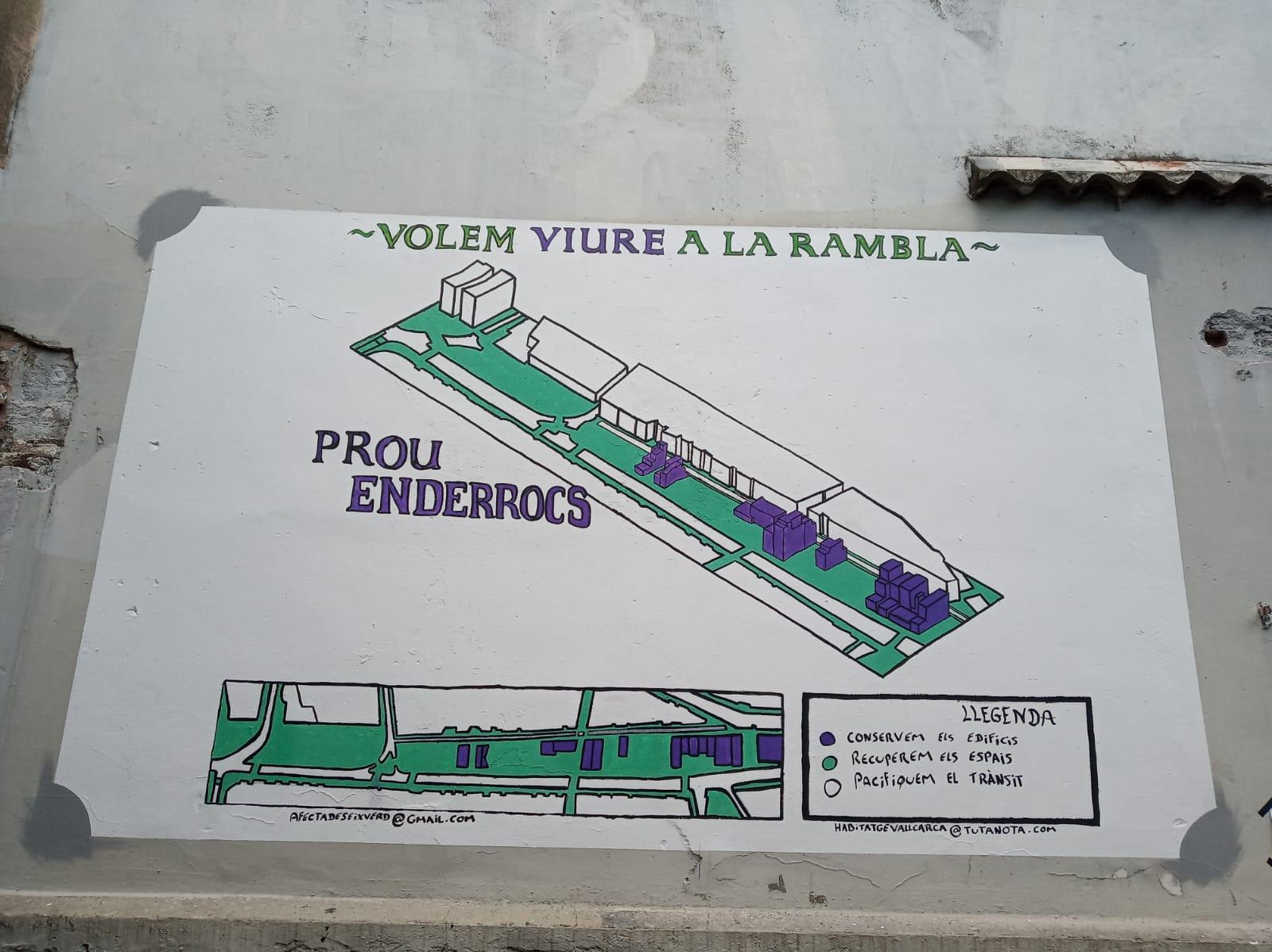 Mural hecho por los vecinos en una calle de Vallcarca