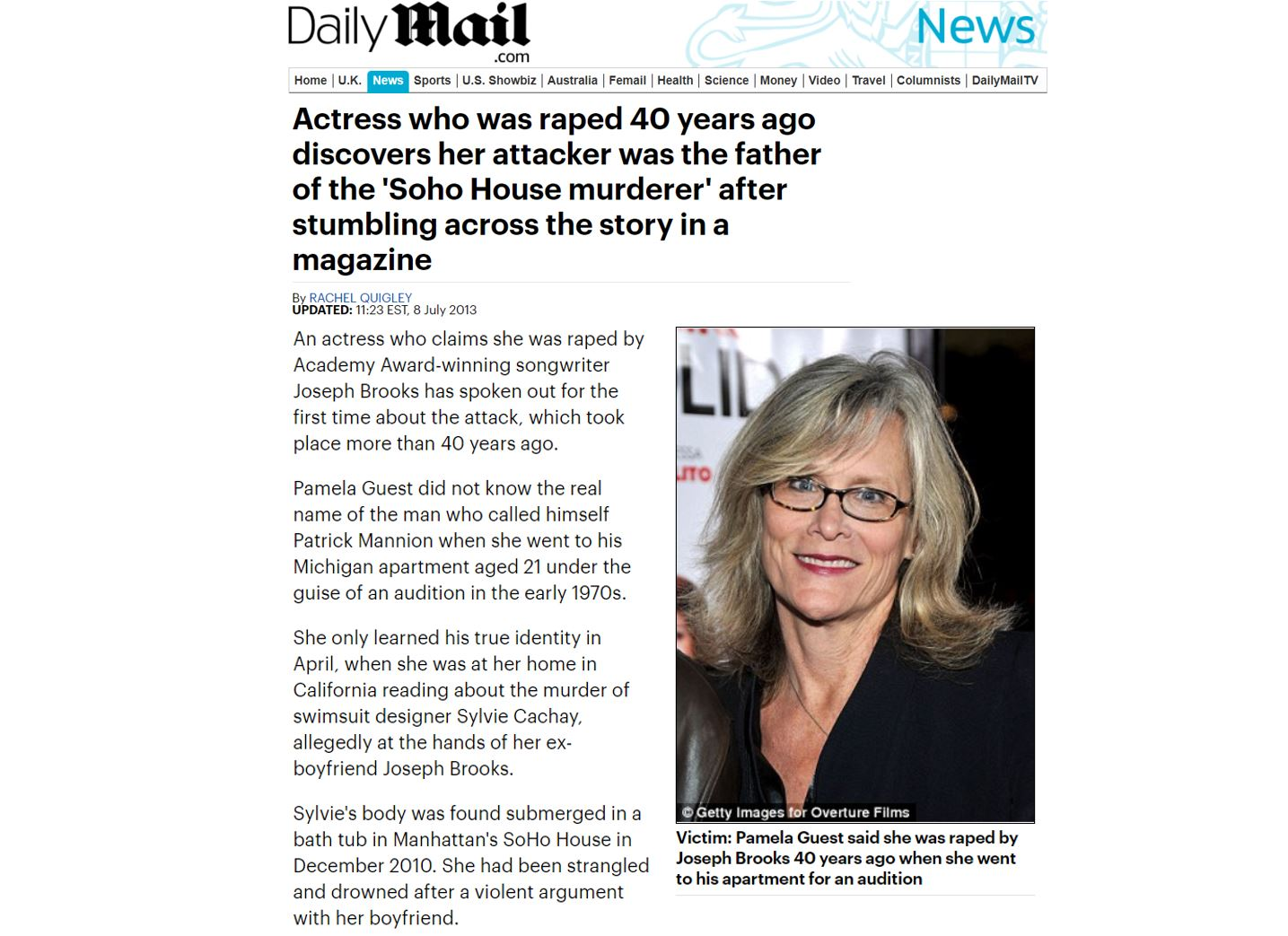 Actress who was raped 40 years ago discovers her attacker was the father of the 'Soho House murderer' after stumbling across the story in a magazine.